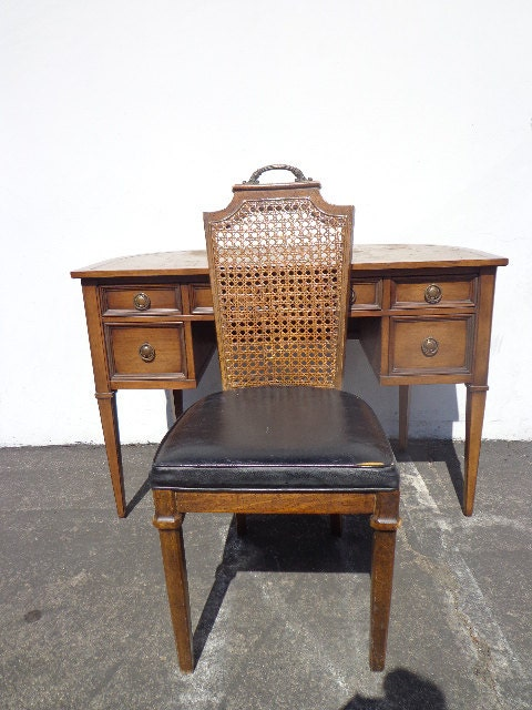 Desk Leather Top Writing Sligh Lowry Demi Lune Chair