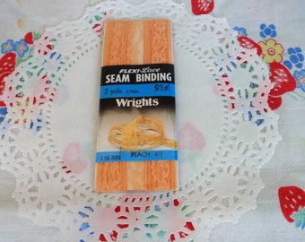 Vintage Peach Lace Seam Binding By Wrights Flexi Lace 3 Yards New Package Vintage Sewing Notions