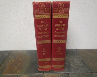 vintage The AMERICAN COLLEGE Encyclopedic Dictionary 2 volume set   ** 1952 publishing