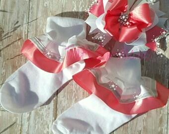 Ruffle Socks Flower Girl Socks Satin Socks Coral Ruffle Socks White Ruffle Socks Holiday Socks Christmas Socks Special Occasion Socks