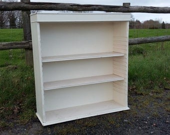 Vintage Painted Shabby Chic Adjustable Shelves Bookcase