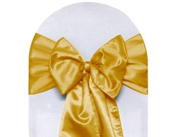 Gold Satin Chair Sashes (Pack of 10) | Wedding Chair Sashes