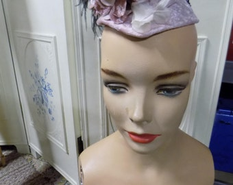 Vintage Pink Hat, Hand made, with Feathers