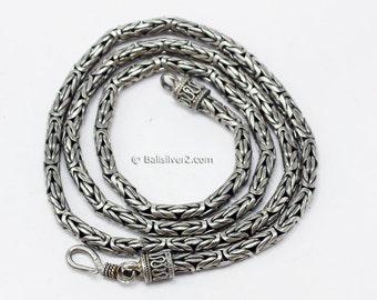 Vintage Sterling Silver 925  Designer Clasp Ornate Necklace Snake Chain