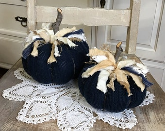 Sweater Pumpkins Set of 2 navy blue and cream fabric pumpkins farmhouse style shabby cottage chic fall decor
