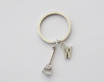 Halloween Keychain, Witch Gift, Witch Accessories, Witch Keychain, Broom Keychain, Witch Purse Charm, Custom Keychain, Initial Keychain