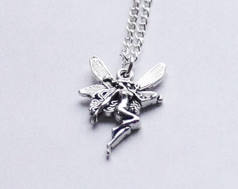 Tiny Fairy Necklace Faerie Necklace Silver Fairy Jewelry Silver Goddess Necklace Fairy Princess Necklace Angel Necklace Victorian Fairy