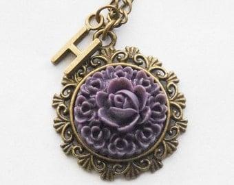 Personalized Cameo Necklace Monogram Cameo Necklace Personalized Purple Flower Necklace Romantic Flower Necklace Initial Necklace Mom Gift