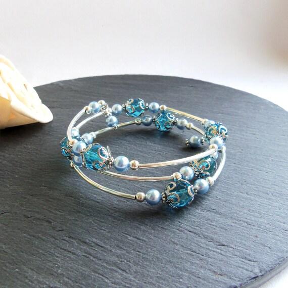 turquoise and blue swarovski memory wire bracelet swarovski. Black Bedroom Furniture Sets. Home Design Ideas