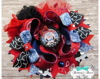 OTT Hair Bow ~ Boots & Bows - Over the Top Hairbow ~ Cowgirl Inspired Hair Bow ~  Stacked Boutique Bow