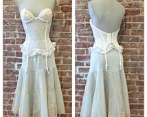 Size 32B White Lace Bustier Corset - Vintage Lace - Vintage Lingerie - White Corset