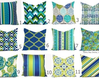 Outdoor Pillows or Indoor Pillow Covers Custom 18x18, 20x20 All sizes - Bright Green, Lime Royal Blue, Aqua Turquoise with White