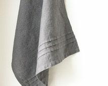 Charcoal tea towel- dark grey linen dish towel- prewashed- softened- kitchen table linens- dishcloth -handmade gift