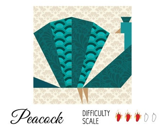 Peacock paper pieced quilt pattern in PDF