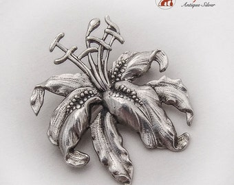 Charming Figural Lily Flower Brooch Pin Sterling Silver