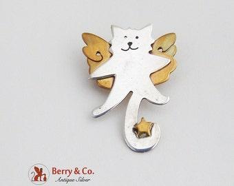 Flying Cat Brooch Sterling Silver Brass