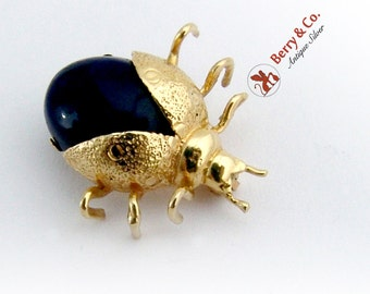 Vintage Small Figural Bug Brooch Pin Lapis 10 K Gold