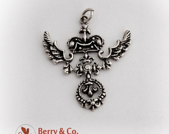Whimsical Ornate Winged Pendant Sterling Silver