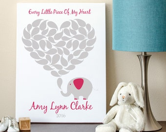 Elephant Guest Book, Baby Shower Guest Book, Baby Girl Guestbook, Guestbook, Elephant Guestbook 8x10 - 50 Signature Shapes