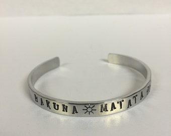 Hakuna Matada, lion king bracelet, Lion King inspired, aluminum metal cuff bracelet