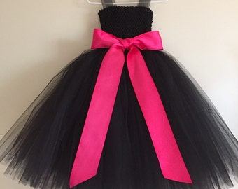 Black Tulle Flower Girl dress, black dress, black tulle party dress, satin sash bow