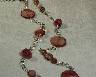 "Cynthia Lynn ""MAUVELOUS"" Asymmetrical Pink Shell & Mixed Bead Rhodium Silver Necklace 26-30"""