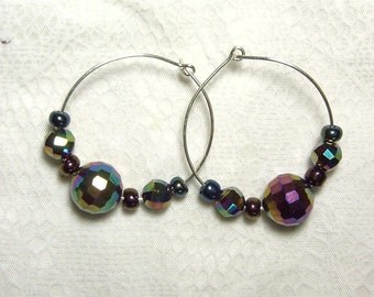 "Cynthia Lynn ""PRISM"" Metallic Multi-Color Glass Bead Silver Hoop Earrings 1.25"""