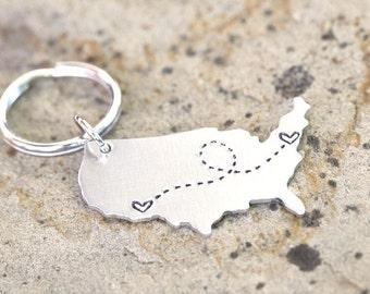 Best Friend Gift - USA Keychain / Long Distance Gift Custom Handstamped America Keychain