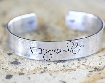 CUSTOM State to State CUFF Bracelet - Choose Your States