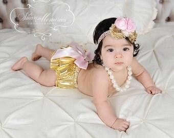 Gold Metallic  Bloomers/Baby Bloomers/Ruffle Bloomers/Toddler Bloomers/Birthday Bloomer/Infant Bloomers/Lace Bloomers/Cake Smash/Baby Romper