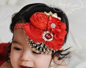 Red Gold Headband/Shabby Chic Headband/Infant Headband/Baby Headband/Newborn Headband/Toddler Headband/Girls Headband/Birthday Headband