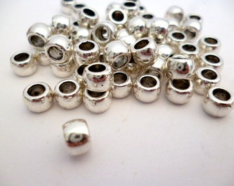 Large Hole Silver Tone Metal Beads_AD87635120005_Small Silver Metal Beads_of 4x5 mm_hole 3 mm_pack 60 pcs