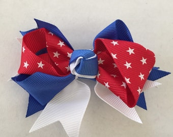 Red, Blue, and White with Stars Hair Bow on Hair Clip 3 1/2""