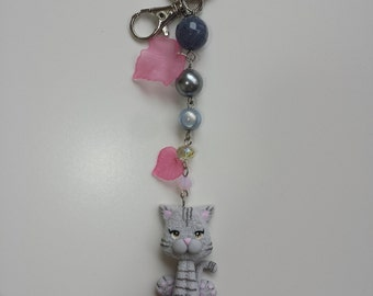 keychains with cat in fimo, polymer clay