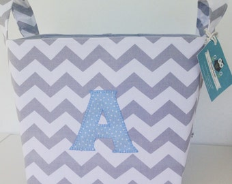 Chevrons Fabric Basket - Monogrammed - Nappy Basket, Diaper Caddy, Nursery Storage, Playroom, Toy Storage, Nursery Decor - Personalised Gift
