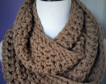 SUPER CHUNKY Crochet Infinity Scarf-Cafe - ready to ship!!