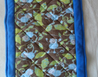 Fleece Monkey Print Quilted Blanket