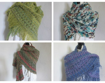 Blue Lace shawl, Yellow Triangle Crochet shawl, Green Crocheted shawl, Crochet Shawlette, Shoulderwarmer, Crochet Wraps, Acrylic Wool,