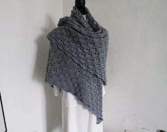 Grey Blue Lace shawl, Triangle Crochet shawl, Crocheted shawl, Crochet Shawlette, Wraps Shawl, Shoulderwarmer, Crochet Wraps, Acrylic Wool,
