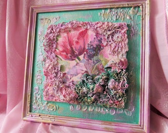 Handmade re-used fabric covered 3D picture made of wood, and vintage crochet with paverpol technics
