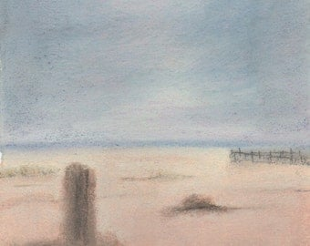 Pastel drawing of the beach at Dungeness, Kent