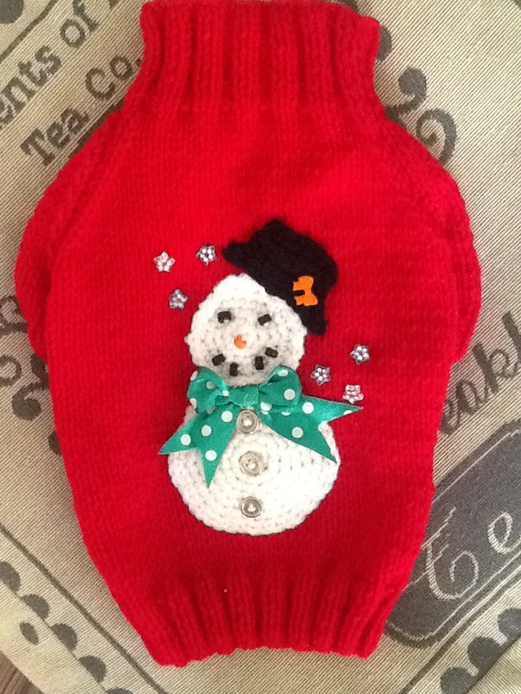 Small hand knit snowman dog sweater jumper coat raglan by DogzPawz