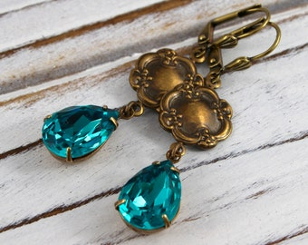 Blue Zircon Drops - vintage style antique brass earrings - Sweet Adornments Collection
