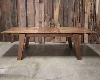 Walnut Extension Dining Table/ Walnut Dining Table/ Modern Walnut Dining Table/ Kitchen Table