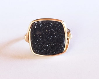 Square Druzy in Black