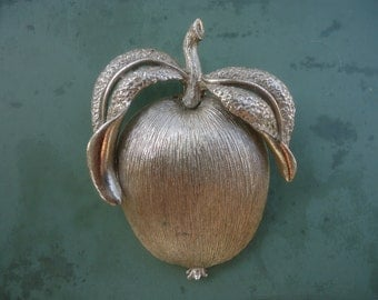 Sarah Coventry Silver Apple Brooch