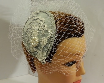 Bridal fascinator,Vintage inspired Tear drop hat  & birdcage veil SILVER HAT  2 Pc bridal accessories Hair piece, crystal Rhinestone pearls