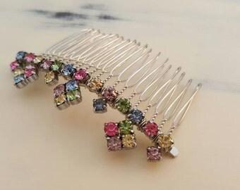 Vintage Rhinestone Rainbow Bridal Comb