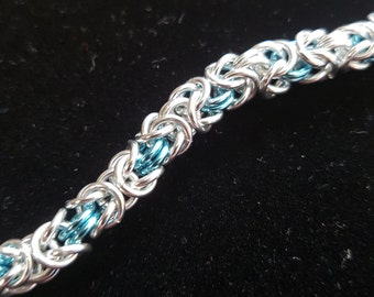 Byzantine weave sky blue and silver chainmaille bracelet