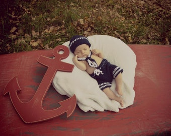 Crochet sailor prop, nautical prop, newborn photography prop, Children's photo prop, sailor hat, crochet photo prop, baby photo prop